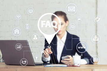 Wall Mural - Business button FAQ network icon