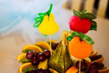 Fruits sliced on a plate