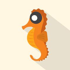 Modern Flat Design Seahorse Icon Vector Illustration