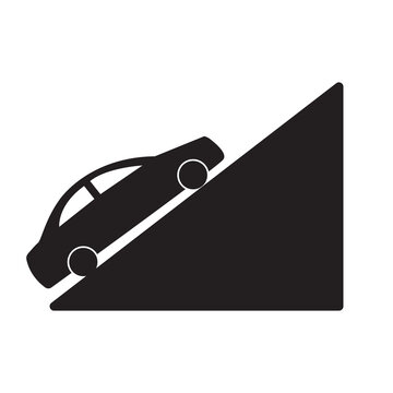traffic sign, steep hill sign isolated vector