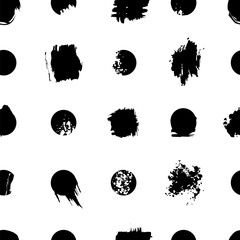 Seamless background with dots and art spots. Black and white pattern.