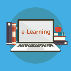 Modern design concept of the learning for website or banner of e-learning, training, business courses, online education, seminar, webinar with books, apple and laptop. eps 10