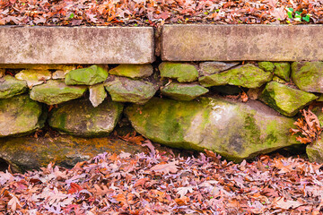 The rough stone wall in the autumn park with dry leaves.