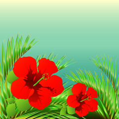 tropical palm tree, leaves,flowers,summer