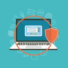 Flat design modern illustration concept of security center with laptop. Raster version.