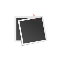 two vector frame with different soft shadows isolated on white background.  Mock up photo frame. Template for your design