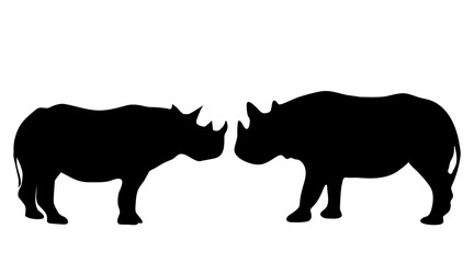 Vector silhouette of rhinoceros on white background.
