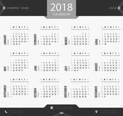 2018 calendar template for companies and private use - simple black and white design schedule, planner and organizer