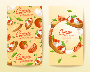 Set of Bruschetta : Delicious Italian appetizer : Vector Illustration