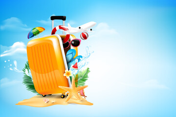 Air plane open luggage travel case with Starfish flower palm leaf sand beach element on blue sky and cloud background for summer tour concept vector illustration