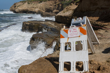 Area Close Signs on Cabrillo Coast