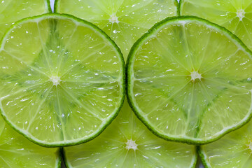 Sliced limes green fruits backround texture