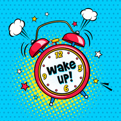 Background with red comic alarm clock ringing and expression wake up text on the dial. Vector bright dynamic cartoon illustration in retro pop art style on halftone background.