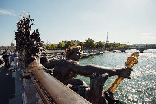 Bronze sculpture on the bridge before Les Invalides in Paris