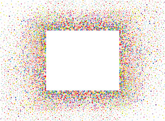 An empty invitation to a holiday in a heap of colorful confetti.