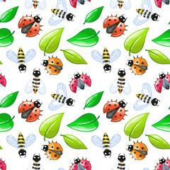 ladybug and bee - seamless cartoon background