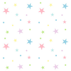 Seamless pastel star pattern on white background. Cute pattern vector illustration.