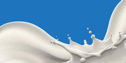 Pouring natural milk and big splash vector realistic illustration