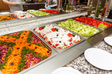 Salad selection in a hotel restaurant