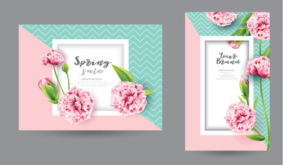 banners with peony pink flowers,wedding invitations set, spring sale.vector illustration