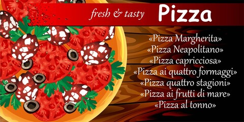 Picture of a round pizza for a business card or a flyer