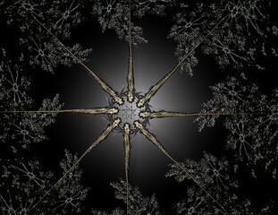 Lacy colorful clockwork pattern. Digital fractal art design. Abstract design of sacred symbols signs geometry.