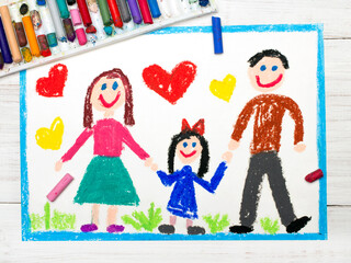 Colorful drawing: happy family. Mother, father and daughter