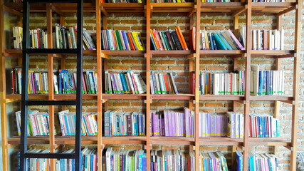 Bookshelf and stairs.