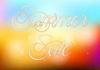 Summer sale illustration with abstract colorful background
