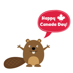 Happy Canada Day card with a cute beaver