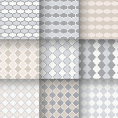 Traditional quatrefoil lattice seamless patterns