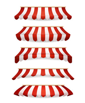 Striped Awnings For Market Store