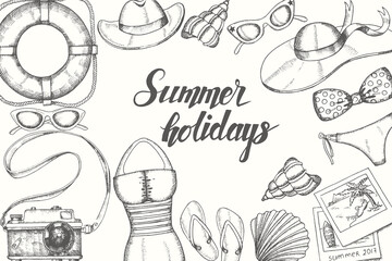 "Summer background with hand drawn doodle vintage objects. Hand written quote ""Summer holidays'. Sketch, lettering. Vector hat, sunglasses, flip flops, swimsuit, photos, camera, shell, lifebuoy."