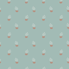 Seamless pattern with plants, flowers. Vector illustration.