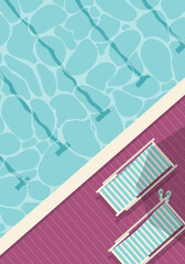 Top view of swimming pool with deckchairs and flip flops.