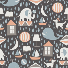 Sweet dreams seamless pattern. Vector illustration.