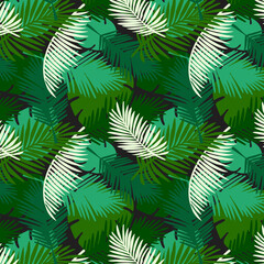 Seamless pattern tropical palm leaves on a black background. Vector tropic wallpaper design.