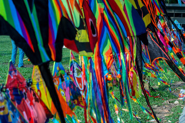 Street hawker selling Kites at Kites Park . Close up photo.