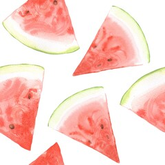 Watermelon pattern. Watercolor painting. Seamless background 3