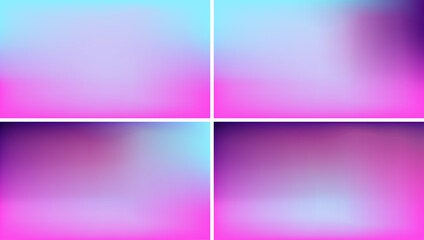 Vector Holographic Blurred Background. Fluorescent Blue, Magenta Pink and Violet Gradient Mesh. Trendy Out-of-focus Effect. Saturated Neon Colors. HD format Proportions. Horizontal Layout.