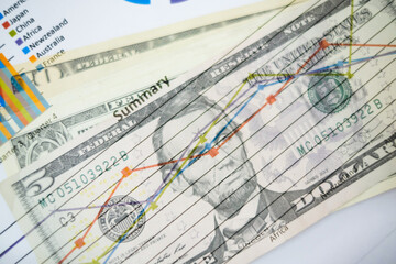 Double exposure of graph and dollars banknotes