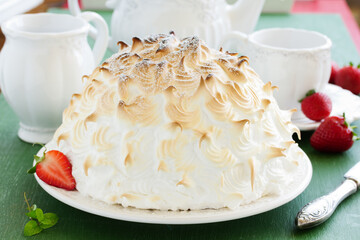 Sponge cake Alaska ice cream and meringues.