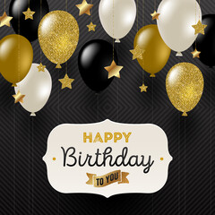 Vector illustration - Frame with birthday greeting , Golden stars and black, white and glitter gold balloons.
