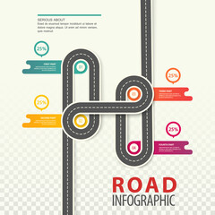 Road or highway, car path top view infographic