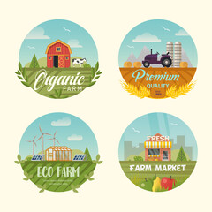 Set of isolated farming logo or banners with barn