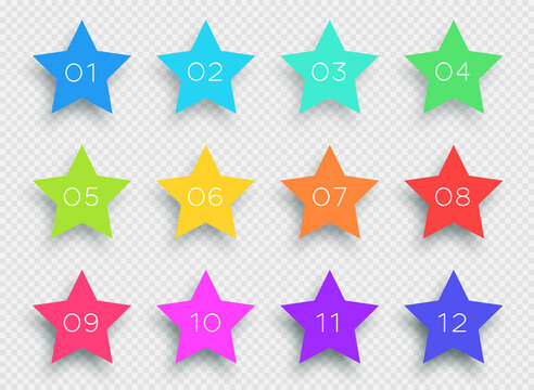 Number Bullet Point Colorful 3d Stars 1 to 12 Vector