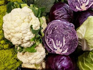 Cabbage and cauliflower at market