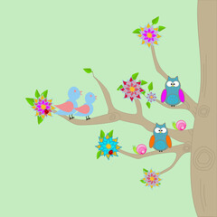 A tree with flowers, Owls, birds and ladybugs