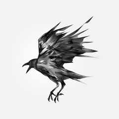 Wall Murals Dragons drawn isolated flying black crow
