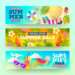 Set of summer sale banners. Vacation, holidays and travel colorful bright background. Vector illustration.